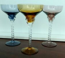 Vintage Crystal Multi-colored Twisted Clear Stem Champagne Glasses Set Of 3
