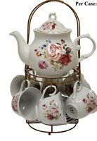 NEW 13pcs Tea-set With Rack Flower Design