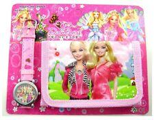 Childrens Kids BARBIE DOLL Girls Fashion Fur Purse Wallet & Watch Toy Gift Set 3