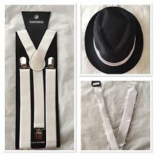 Adult Mens Gangster Detective Costume Set Hat White Suspenders Tie Party
