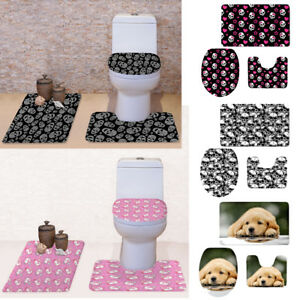 3pcs Bathroom Set Skull Toilet Seat Covers Non-slip Shower Bathmat Carpet Rug