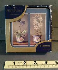 6 Cork Coasters Perisian Flowers Pimpernel Premier Collection England