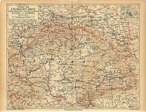 1876 HUNGARY CROATIA SLOVENIA GALICIA BUKOVINA UKRAINE Antique Map