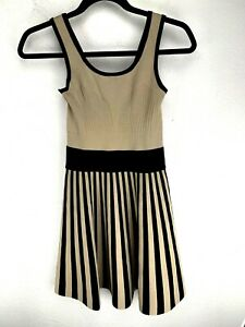 Guess Los Angeles Dress Knit Fit And Flare A-line Tan Black Stripe Size Small