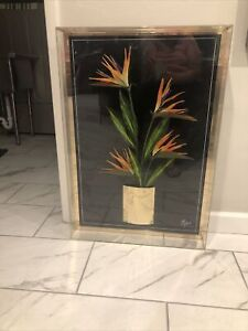 Jon Gilmore Signed Birds Of Paradise 80s Pop Art Floral Diorama Lucite Shadowbox