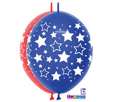 "10ct. PATRIOTIC ASST Link-o-Loon 12"" Latex Helium Linking Balloons ARCHES ARBORS"