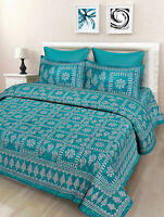 Handmade Cotton Double Bed Sheet & Duvet Cover With 4 Pillow Covers For Gift sk