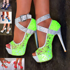 Women's Studded Lace Stiletto Shoes Ankle Strap Platform High Heel Peep Toe Size