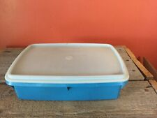 Vintage Tupperware TupperCraft Storage Container Sewing Craft Divided Tray Blue