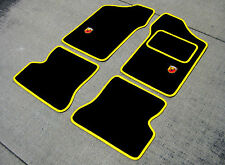 """Car Mats in Black w/ Yellow Trim to fit Fiat Seicento + """"Abarth"""" Logos"""