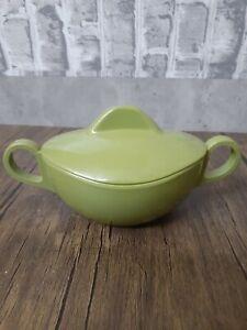 Vintage Melamine/Melmac Covered Sugar Bowl or Trinket Dish Avocado Green