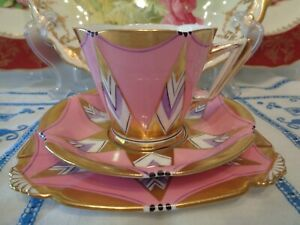 Royal Albert Crown China Trio Art Deco Pink And Mauve.....There Is A Fault