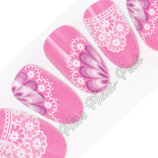 Nail Art Water Transfers Wraps Decals Lilac/Pink Flowers & Lace Floral Y067