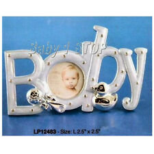 Baby Boy Silver Plated Photo Frame Blue Boxed Ideal Birth or Christening Gift