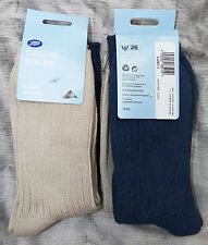 BOOTS 2 x PAIRS WOMENS CASUAL WARM WINTER BOOT SOCKS SIZE 4-7 BLUE/BEIGE BNWT