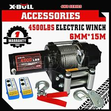 X-BULL 4500LBS/2039kg Electric Winch Steel Cable Wireless ATV 4WD 2 REMOTES 12V