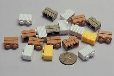 Lego Parts Lot of 19 Mix Modified Bricks 1x2  Masonry Grille Grooves Item #109