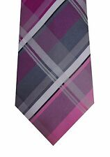Kenneth Cole men neck tie necktie pink gray plaid Nicholas Grid silk classic new