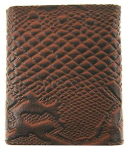 MENS Trifold Panther Embossed Western Cowboy Credit Card ID Holder Wallet Brown
