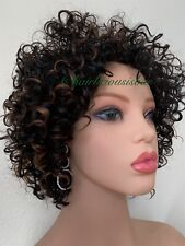 kinky-curly afro wig Ombré Black Golden Brown Heat Ok