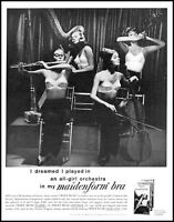 1960 All Girl Orchestra in Bras Maidenform Risque vintage photo print ad ADL12
