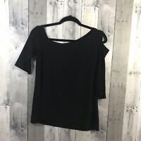CLARA SUN WOO Drop Shoulder Bell Sleeve Top Blouse Size Women's Sz Small Black