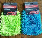 Microfiber Car Wash Cleaning Mitt Glove Blue Lime Green wash & dry Supplies
