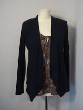 M&S navy blue cardigan & brown floral blouse top attached 12