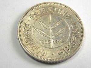 1935 British Palestine  50 Mils 0.720 Silver Coin.