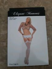 Elegant Moments Sheer Thigh Hi One Size Fits Most White Style 1725 Lingerie