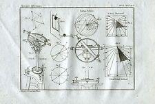 Quadranti Solari.Orologi Solari.Orologeria.Acquaforte su Rame.Stampa Antica.1835