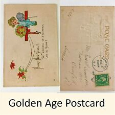 Happy New Year Postcard Embossed - JB & Co 1 Cent Stamp 1914 Mark