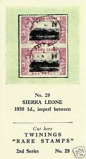 TWININGS TEA CARD, SERIES: RARE STAMPS, SIERRA LEONE, 1938, 1d., IMPERF BETWEEN