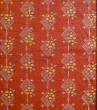 Vintage wool Japanese kimono fabric yellow flower on deep orange tsumugi