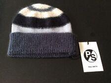 Designer Paul Smith Stripe Merino Wool & Mohair Blend Beanie Hat BNWT RRP £65