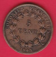 R* FRANCE FRENCH COLONIES 5 CENTIMES 1843 A VF DETAILS #22190