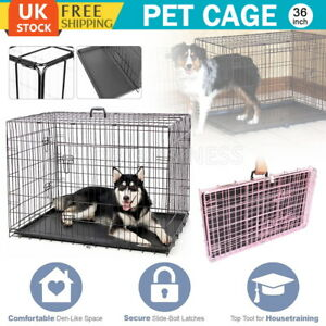 36 INCH Dog Cage Pet Puppy Metal Training Crate Foldable Protable Carrier UK