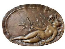 Émile VERNIER (1852-1927) Plateau Bronze Vénus & Cupidon Art Nouveau Jugendstil