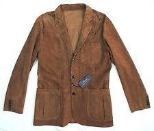 $1295 Polo Ralph Lauren 100% Suede Leather Blazer Sport Coat Jacket 38R 38 R S M