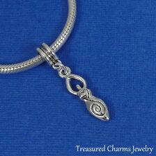 Silver Fertility Goddess Symbol Dangle Bead Charm - Fits European Bracelets NEW