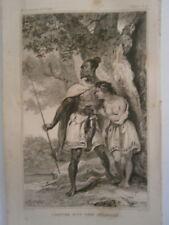 gravure 19° voyage Cook : Costume d'un chef Zélandais