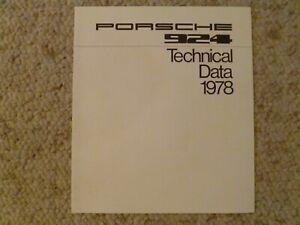 1978 Porsche 924 Coupe Technical Data Showroom Sales Folder, Brochure RARE! L@@K