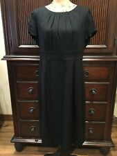 Boden Cap Sleeve Black Viscose Blend Dress Size 12/14 British 16L