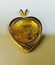 24K CHINESE PANDA BEAR COIN IN 14K Solid Yellow Gold Heart Coin Charm Pendant