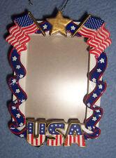 Hallmark NEW USA patriotic Ornament THANKS for SERVICE photo frame Christmas box
