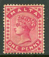 Malta 1885 QV 1p Carmine Rose Scott #9 Mint A325 ⭐⭐⭐
