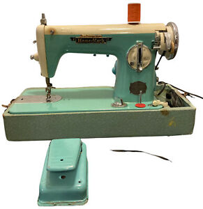 Vintage Precision Deluxe Home Mark Sewing Machine 1.0 Amps Aqua Blue Built Japan