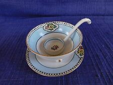 1924 Noritake Japanese Soup or Sauce Bowl w/ Under Plate & Ladle Lusterware