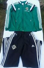 NORTHERN IRELAND LARGE BOYS ADIDAS GREEN WHITE & BLACK TRACKSUIT VGC
