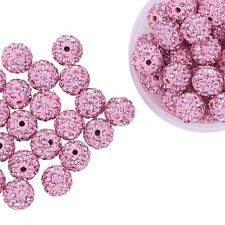 Pandahall 100 Pcs 10mm Light Rose Shamballa Pave Disco Ball Clay Beads, Polymer